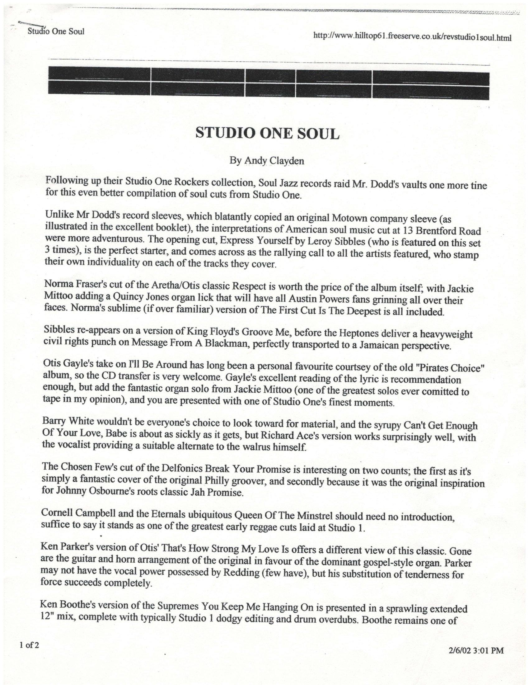 Studio One Soul Album Review-1