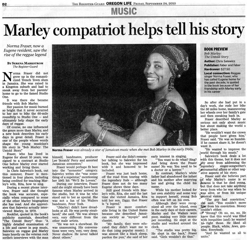 Marley compatriot helps tell his story